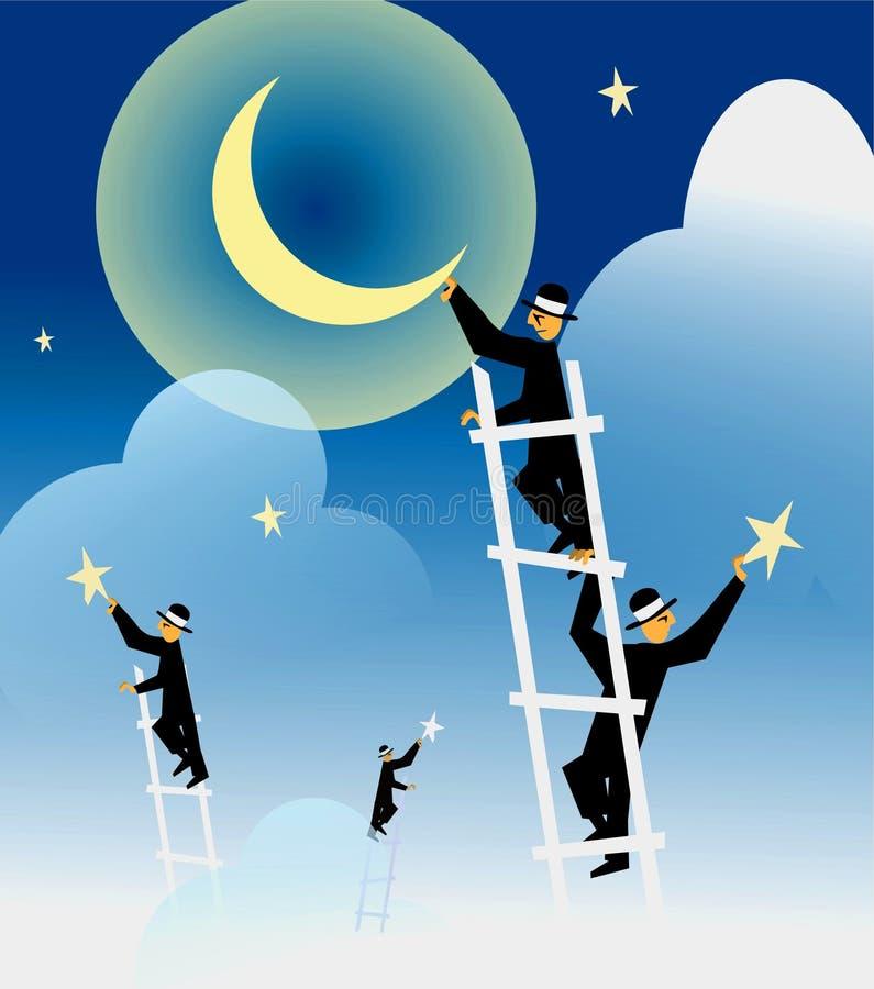 Établir la nuit illustration de vecteur