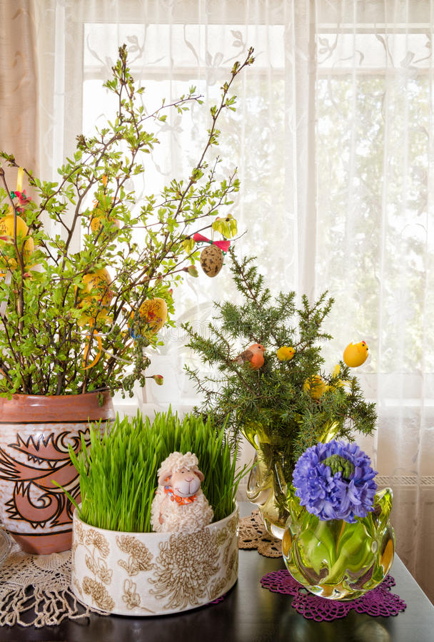 Établissement de décorations de Pâques photographie stock
