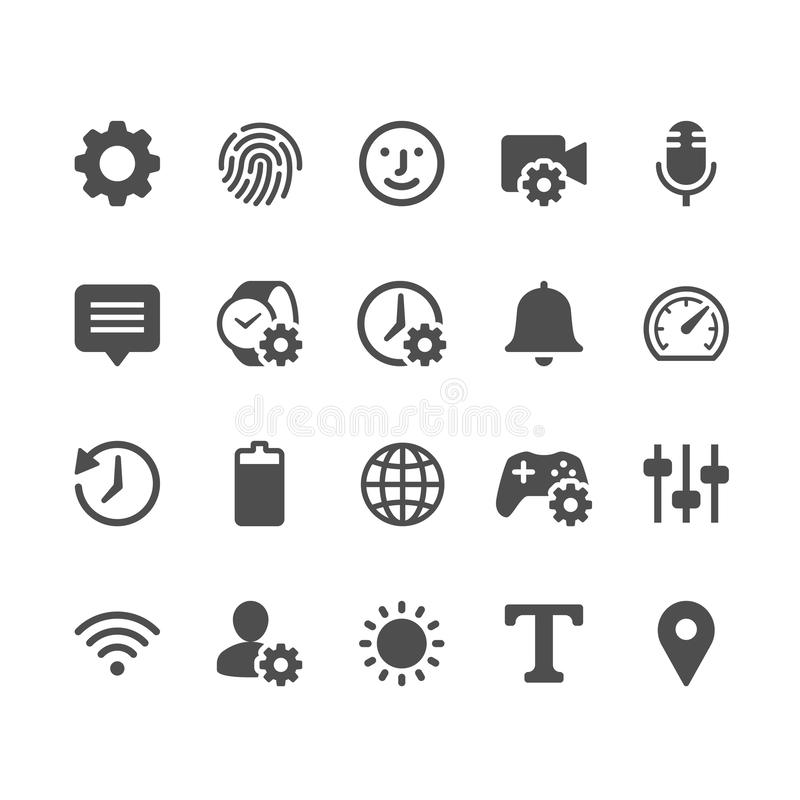 Établissement des icônes de glyph illustration de vecteur