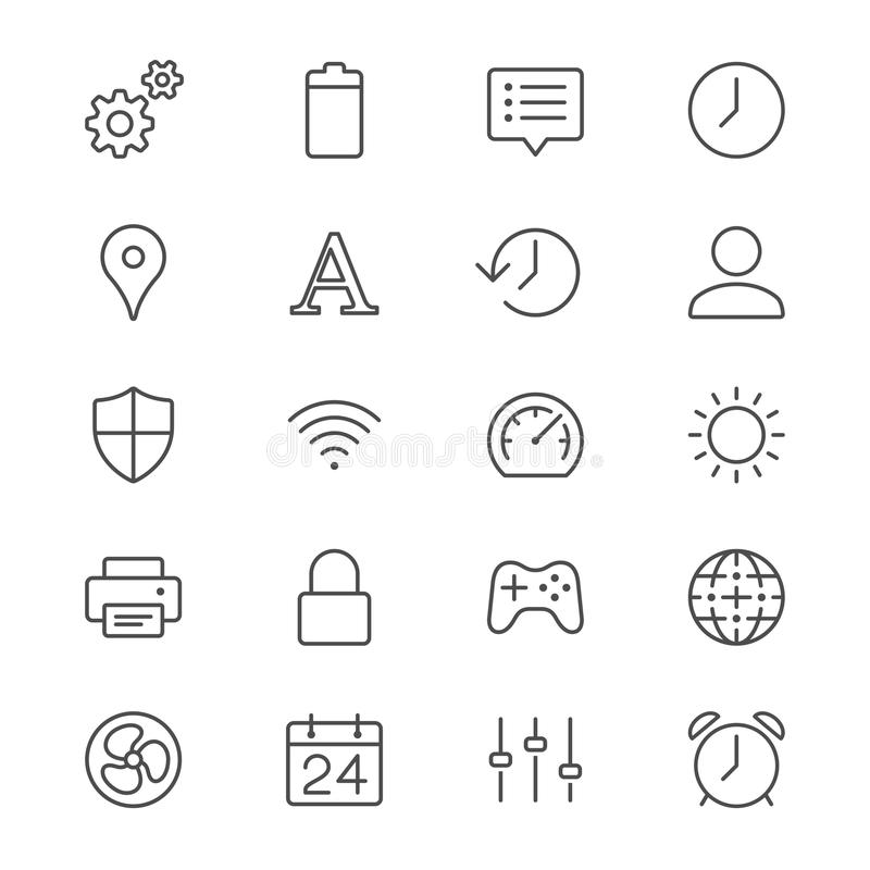 Établissement des icônes minces illustration stock