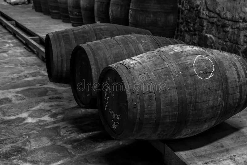 Établissement vinicole stockant le tonneau de vieux port dans le celler photo libre de droits