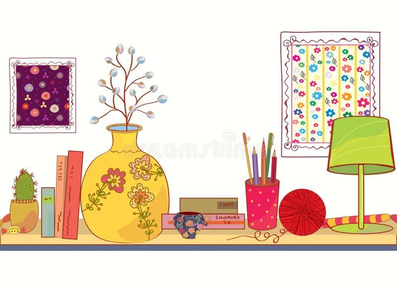 Étagère avec des objets de livre et de maison illustration de vecteur