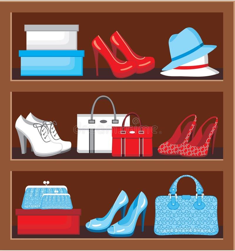 Étagère avec des sacs et des chaussures. illustration stock