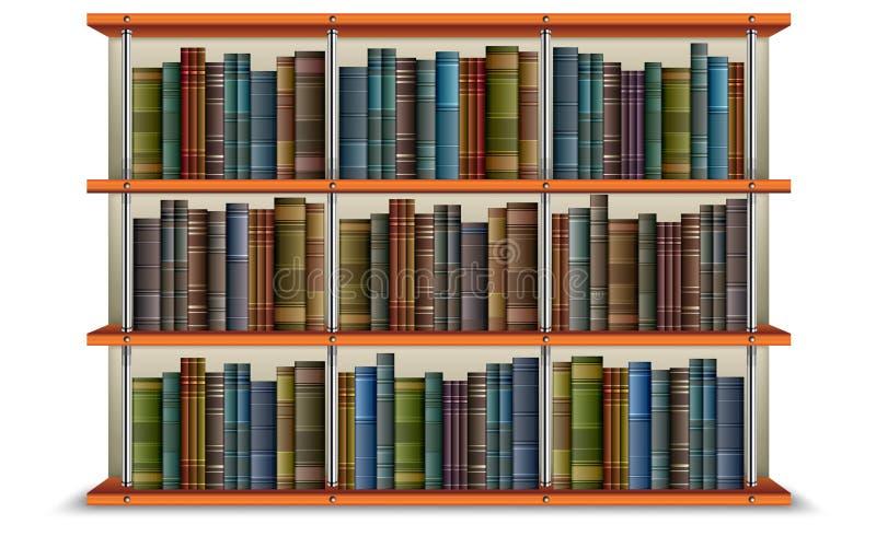 Étagère avec les livres et la trame illustration de vecteur