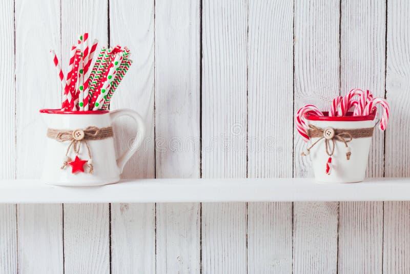 Étagère de cuisine de Noël photos stock