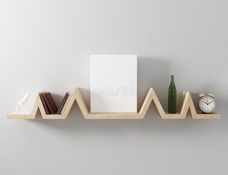 Étagère de flottement de canvasmockup vide illustration stock