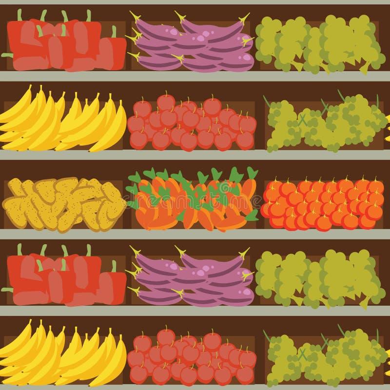 Étagère de fruits et légumes avec la nourriture saine fraîche dans le supermarché, grand choix de vente de produits biologiques d illustration libre de droits