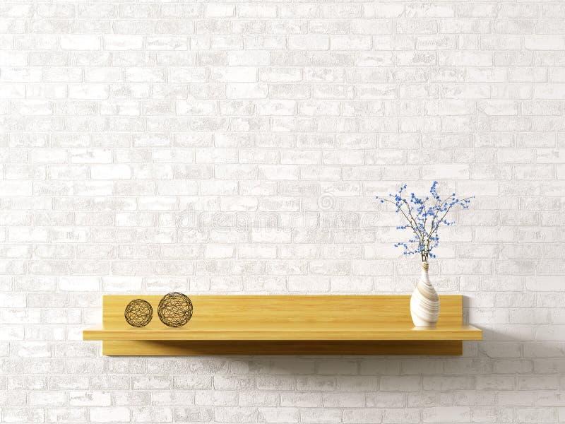 Étagère en bois au-dessus du rendu intérieur du fond 3d de mur de briques illustration libre de droits
