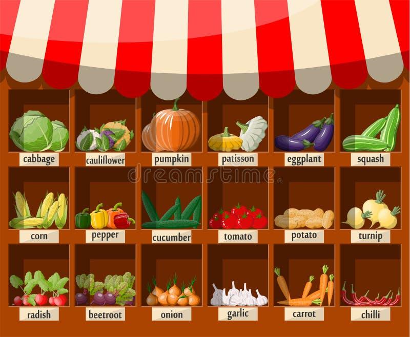 Étagère en bois de supermarché avec des légumes illustration de vecteur