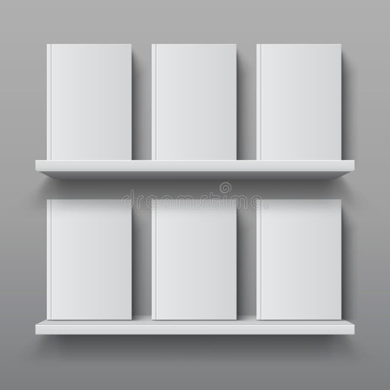 Étagère réaliste avec des livres Maquette d'étagère de bibliothèque, bibliothèque moderne de bureau, calibre de conception de vec illustration libre de droits