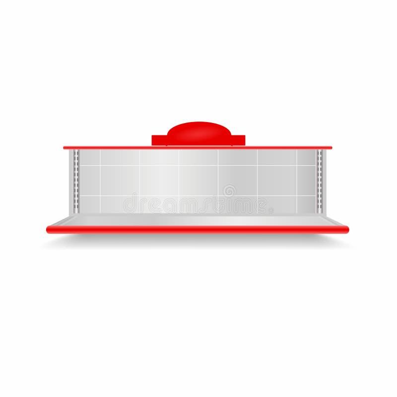 Étagère vide de supermarché Étalage réaliste de vecteur avec le contre-jour rouge illustration stock