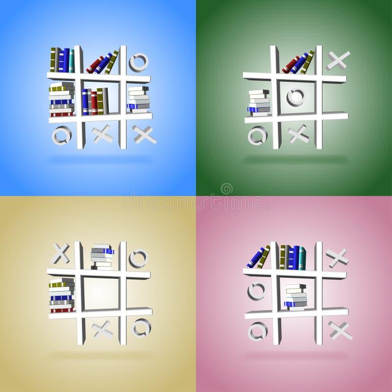 Étagères à livres d'orteil de tac de tic illustration libre de droits
