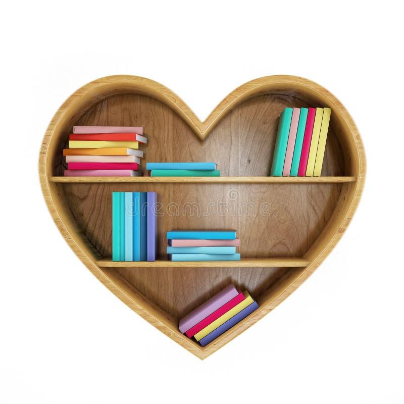Étagères à livres en forme de coeur avec les livres colorés, coeur de la connaissance, d'isolement sur le blanc illustration stock