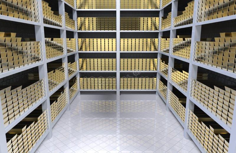 Étagères avec de l'or illustration stock