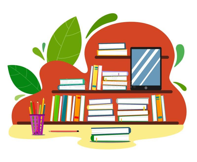 Étagères avec des livres sur un fond abstrait avec des feuilles, des crayons et un instrument dans le style d'appartement illustration de vecteur