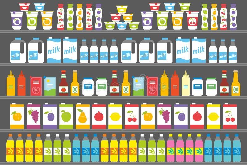 Étagères avec des produits et des boissons illustration de vecteur
