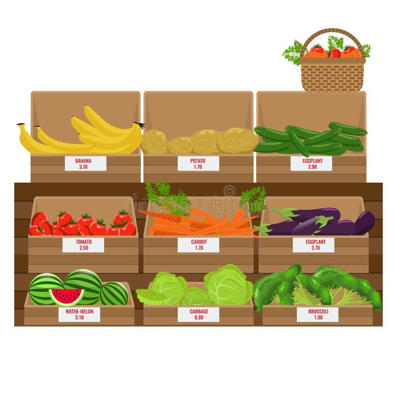 Étagères avec l'assortiment de légume frais Boîtes en bois à épicerie Vecteur illustré Conception plate de couleur illustration libre de droits