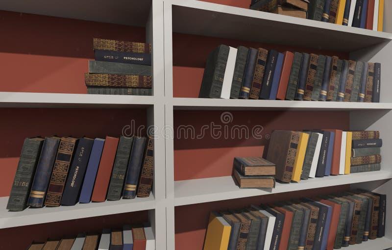 Étagères blanches remplies de livres photographie stock