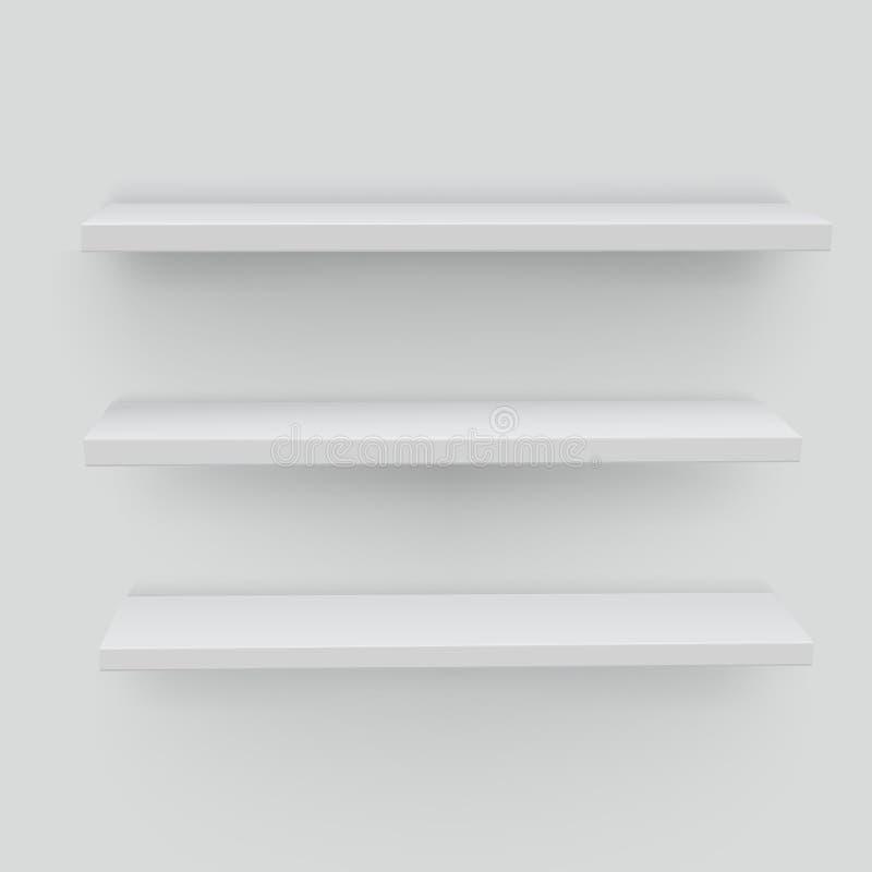 Étagères blanches sur le fond blanc Supports réalistes et volumineux W illustration de vecteur