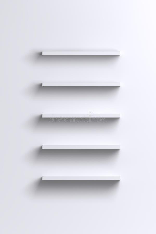 Étagères blanches vides sur le mur vide illustration stock