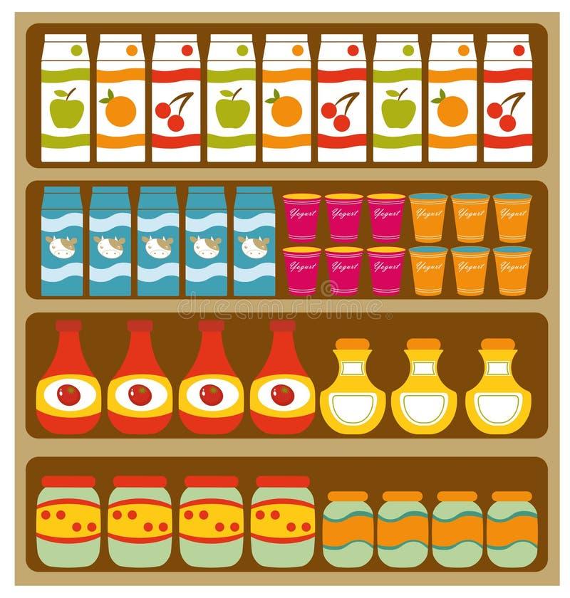 Étagères d'épicerie illustration libre de droits