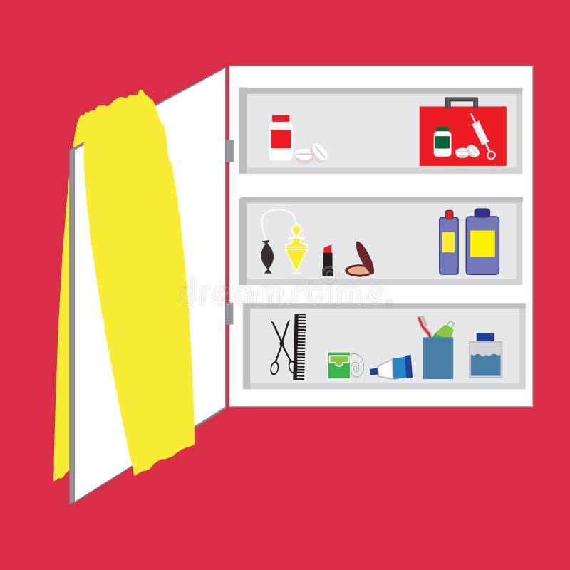 Étagères dans la salle de bains, approvisionnements d'hygiène personnelle illustration de vecteur
