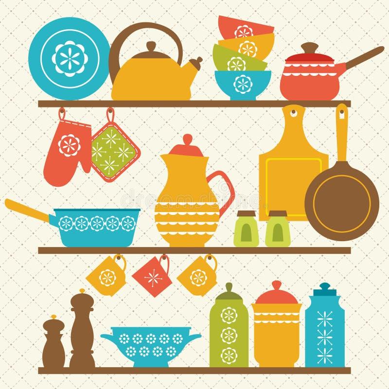 Tag res de cuisine illustration de vecteur illustration for Etagere cuisine retro