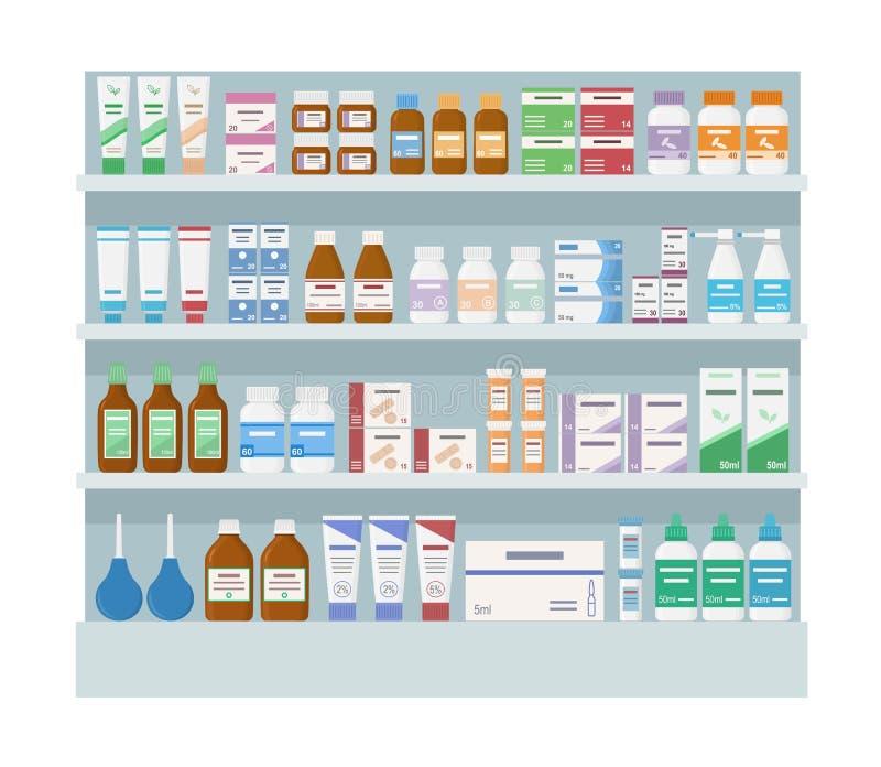 Étagères de pharmacie avec des médecines Grand support d'isolement sur le fond blanc illustration libre de droits