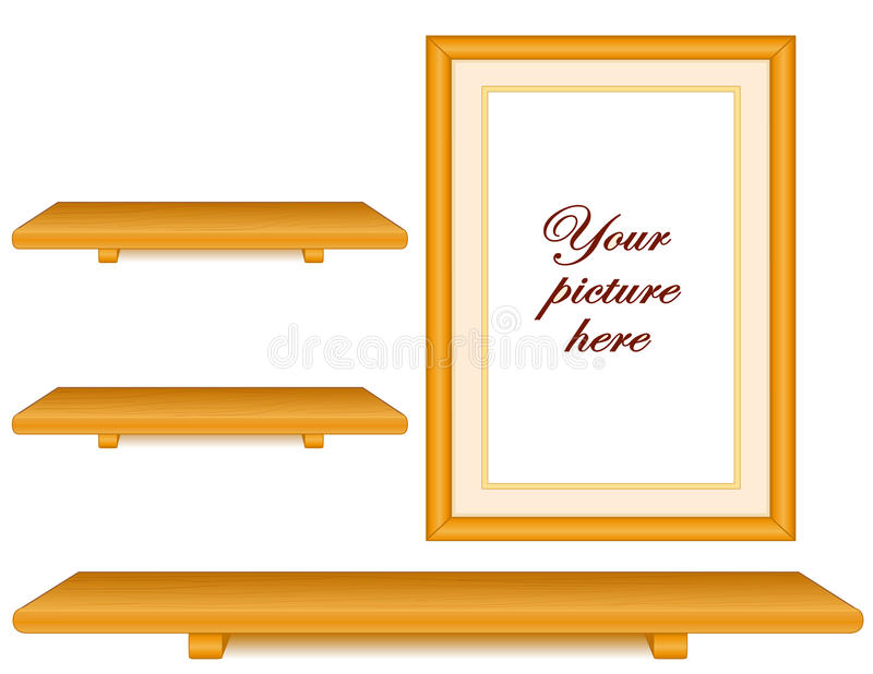 Étagères en bois de chêne, groupe de mur de cadre de tableau illustration de vecteur