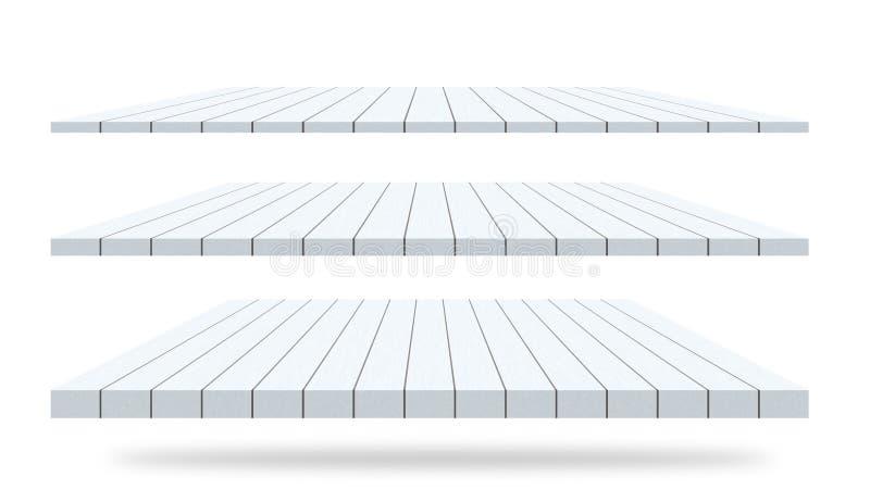 Étagères en bois de tables illustration de vecteur