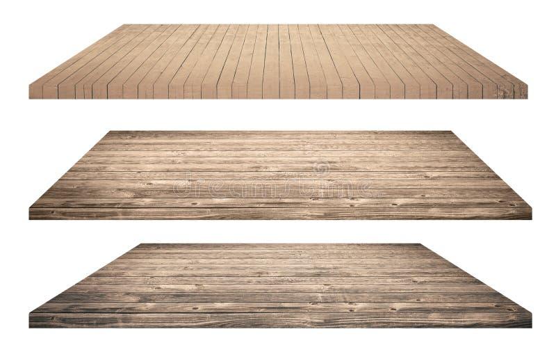 Étagères ou dessus de table en bois d'isolement sur le blanc images stock