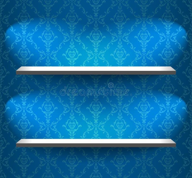 Étagères sur le mur bleu illustration de vecteur