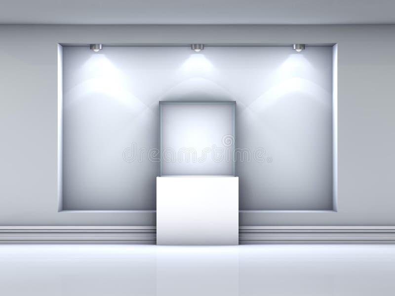étalage 3d et place en verre avec des projecteurs illustration stock