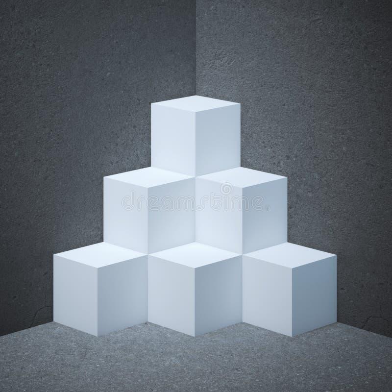 Étalage blanc avec des cubes illustration de vecteur