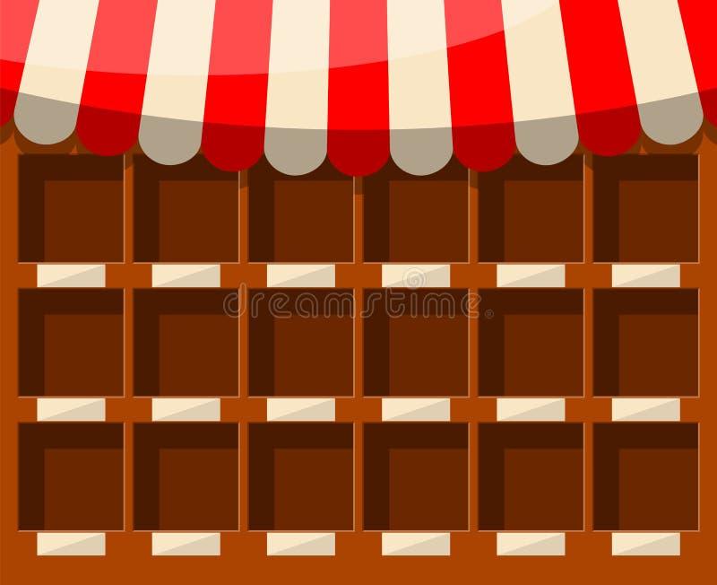 Étalage en bois de supermarché vide illustration de vecteur