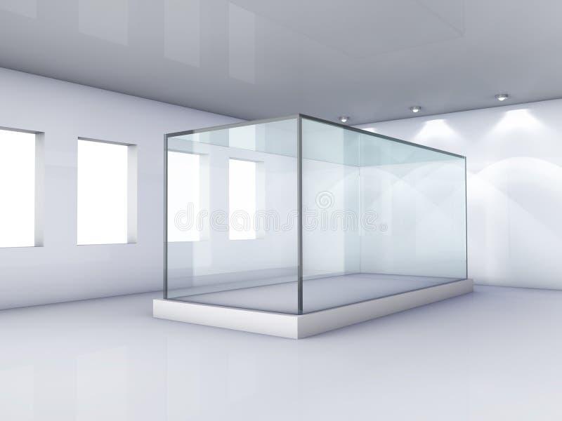 Étalage en verre dans la chambre grise avec des hublots illustration libre de droits