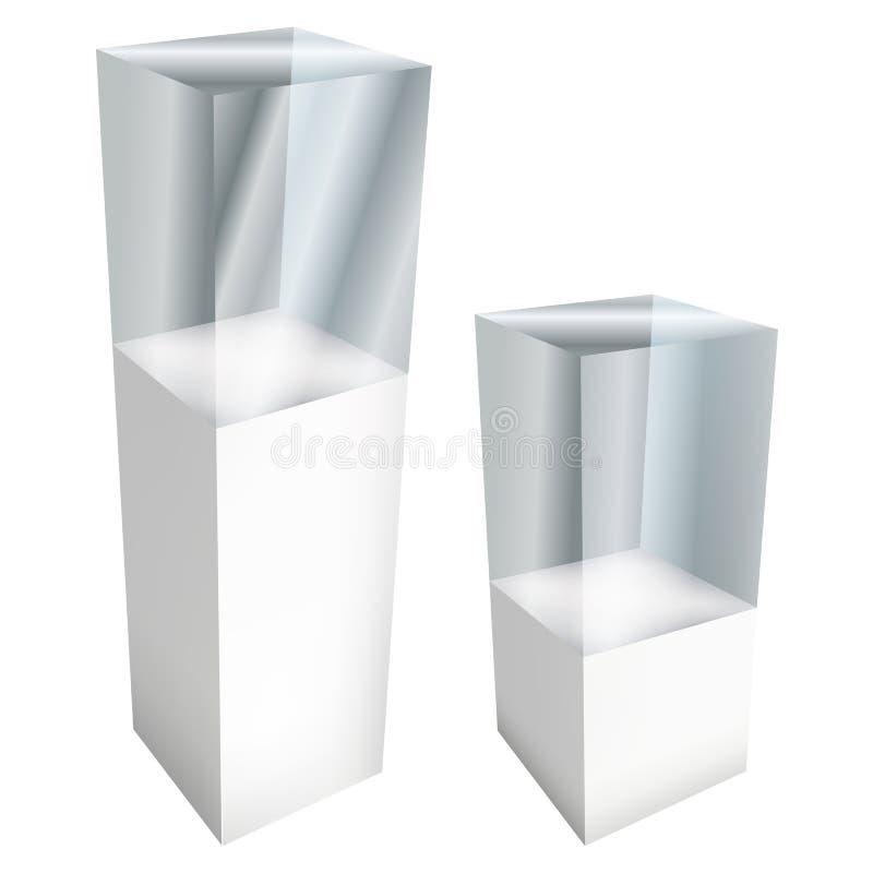 Étalage en verre vide pour l'objet exposé vecteur 3d illustration de vecteur