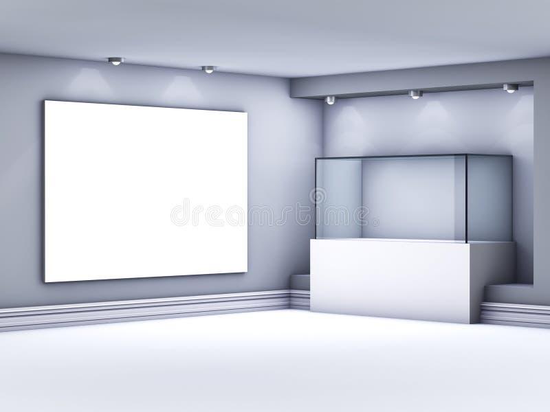 Étalage et lightbox en verre avec des projecteurs illustration de vecteur