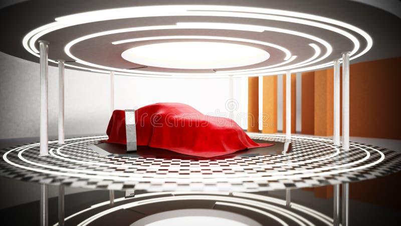 Étalage modèle de nouvelle voiture sur le podium sous la soie rouge illustration 3D illustration libre de droits