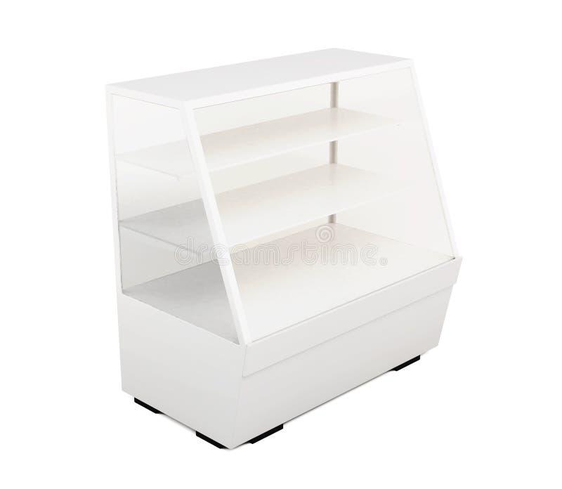 Étalage vitré avec des étagères d'isolement sur le fond blanc illustration stock
