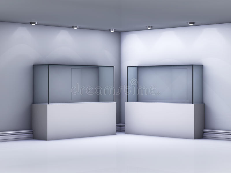 Étalages en verre dans la rampe illustration stock