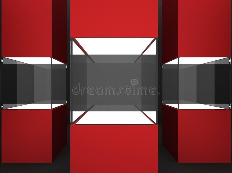Étalages en verre vides de cube pour l'objet exposé illustration stock