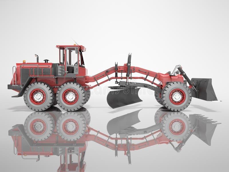 Étaleur rouge de machines de construction pour le nivellement des routes pour l'asphaltage 3D rendu sur fond gris avec ombre illustration de vecteur