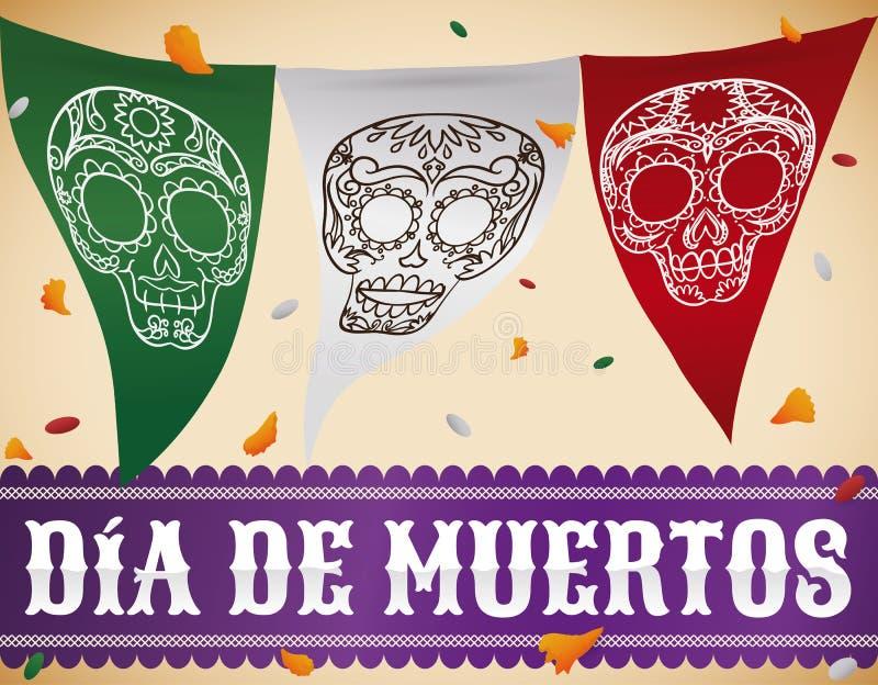 Étamine mexicaine avec des crânes à célébrer illustration libre de droits
