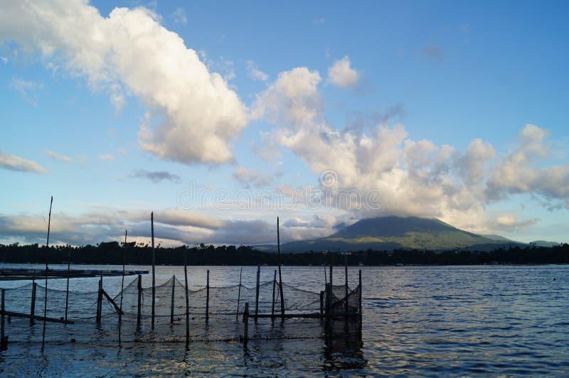 Étang à poissons sur l'eau de lac image stock