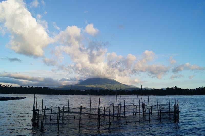 Étang à poissons sur l'eau de lac photographie stock libre de droits
