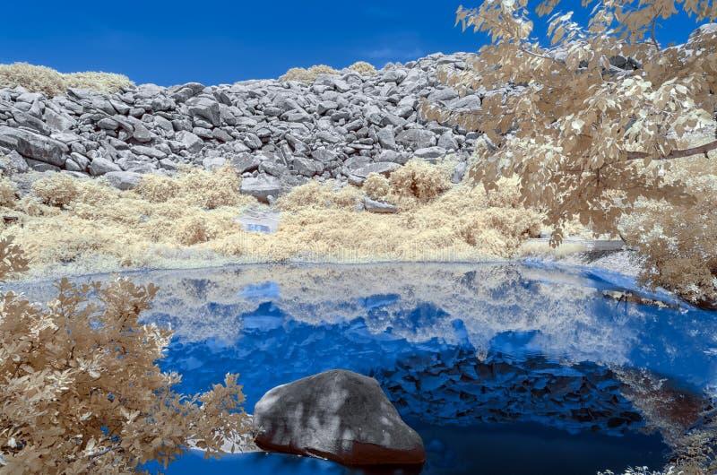 Étang bleu entouré par le feuillage avec une colline répandue par rocher en Th photo libre de droits