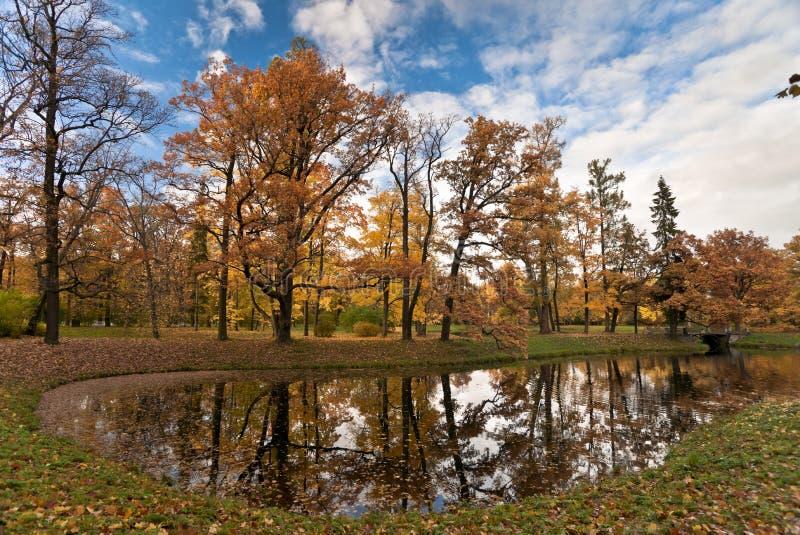 Étang d'automne en stationnement photographie stock