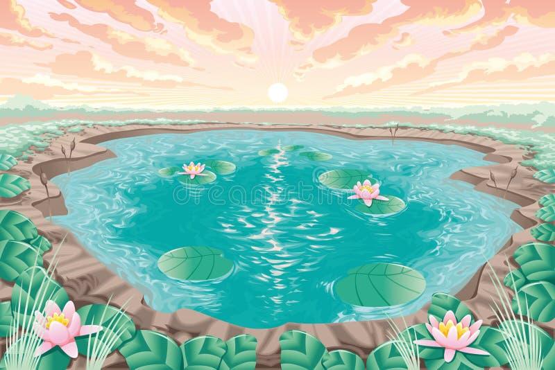 Étang de dessin animé avec le lotus illustration de vecteur