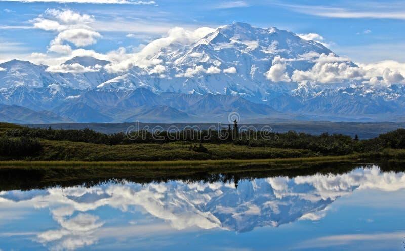 Étang de réflexion au lac wonder en parc national de Denali photo stock